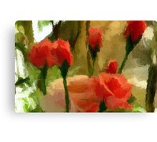 A digital oil painting of Roses in Our Garden Canvas Print