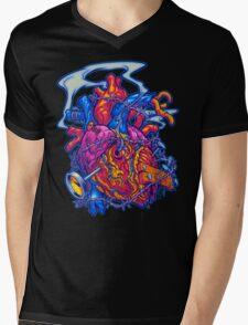 BUSTED HEART Mens V-Neck T-Shirt