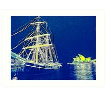 Two Tall Ships in Sydney Harbour Art Print