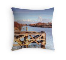 Manchester ship canal near moore . Throw Pillow