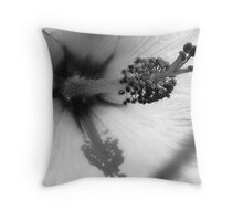 bw hibiscus Throw Pillow