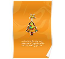 Christmas Card - Groovy Orange Wish Tree Poster