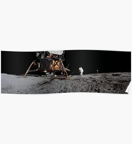 Apollo 12 : Amazing Panoramic Picture Taken on the Moons surface Poster