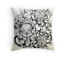 frangipani tree of sugar skulls  Throw Pillow