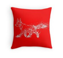 White Melting Dog - Bright Red Throw Pillow