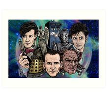 Faces Of Dr. Who Art Print