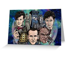 Faces Of Dr. Who Greeting Card