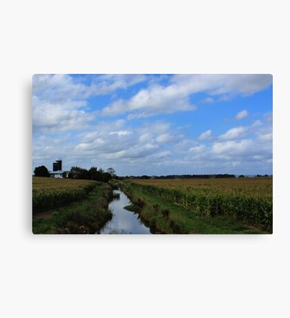 Irrigation and silos down on the farm Canvas Print
