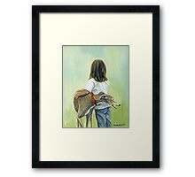 Girl and Greyhound Framed Print