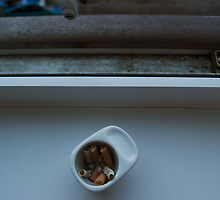 Cigarettes in Egg Cup by Clare Bentham