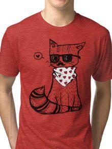 Hipster Cat Tri-blend T-Shirt
