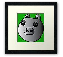 green piggy grey scale Framed Print