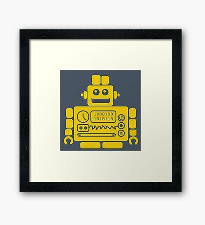 Retro Robot - Navy & Yellow Framed Print