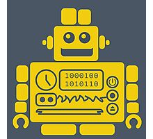Retro Robot - Navy & Yellow Photographic Print