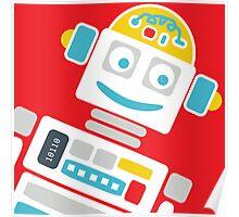 Retro Robot - Red, White & Blue Poster