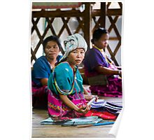Hmong Tribeswoman Weaving Poster