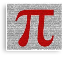 Pi to 10000 - 10k - Digits in Monotype, Red Symbol on White Canvas Print