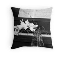Piano in Black & White with Orchid Throw Pillow