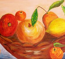 Basket of fruits by daffodil
