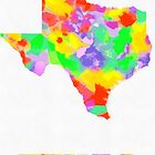 Texas Map Pop art On White by Eti Reid
