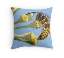 Yellow, black & blue Throw Pillow