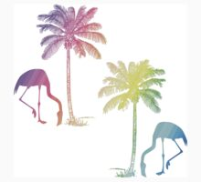 Tropical Pastel Rainbow Flamingo and Palm Tree Kids Clothes