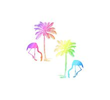 Tropical Pastel Rainbow Flamingos Palm Trees by TammyWinandArt