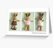 pink & brown bunnies Greeting Card