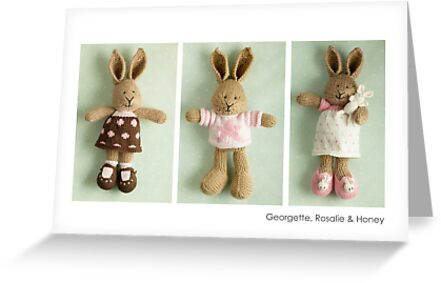 pink & brown bunnies by bunnyknitter