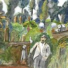 141 - BRANXTON STONE GARDEN - 01 - DAVE EDWARDS - WATERCOLOUR - 2005 by BLYTHART