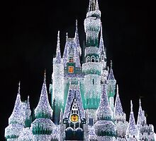 Cinderella's Castle Disney World 2014 Christmas Lights by halfaheart
