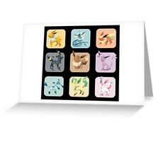 Origami Eeveelutions in Squares Greeting Card
