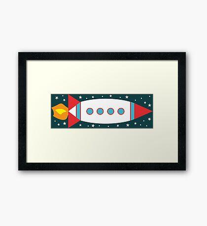 Retro Rocket - Red, White & Blue Framed Print