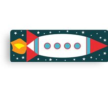 Retro Rocket - Red, White & Blue Canvas Print