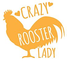 Crazy Rooster Lady Photographic Print