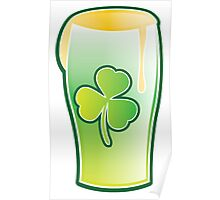 Green shamrock Irish Pint of beer Poster