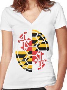 Maryland Flag Shell Women's Fitted V-Neck T-Shirt