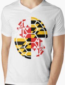 Maryland Flag Shell Mens V-Neck T-Shirt