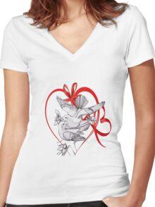 white-doves Women's Fitted V-Neck T-Shirt