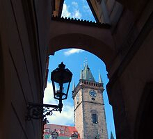 Tower framed by arch, Praha by culturequest