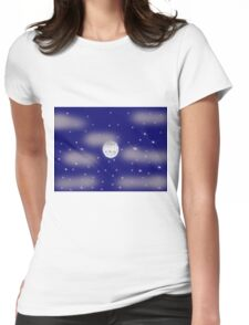 cloudy starry night with moon Womens Fitted T-Shirt