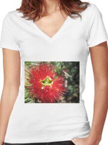 Bottle brush flower Women's Fitted V-Neck T-Shirt