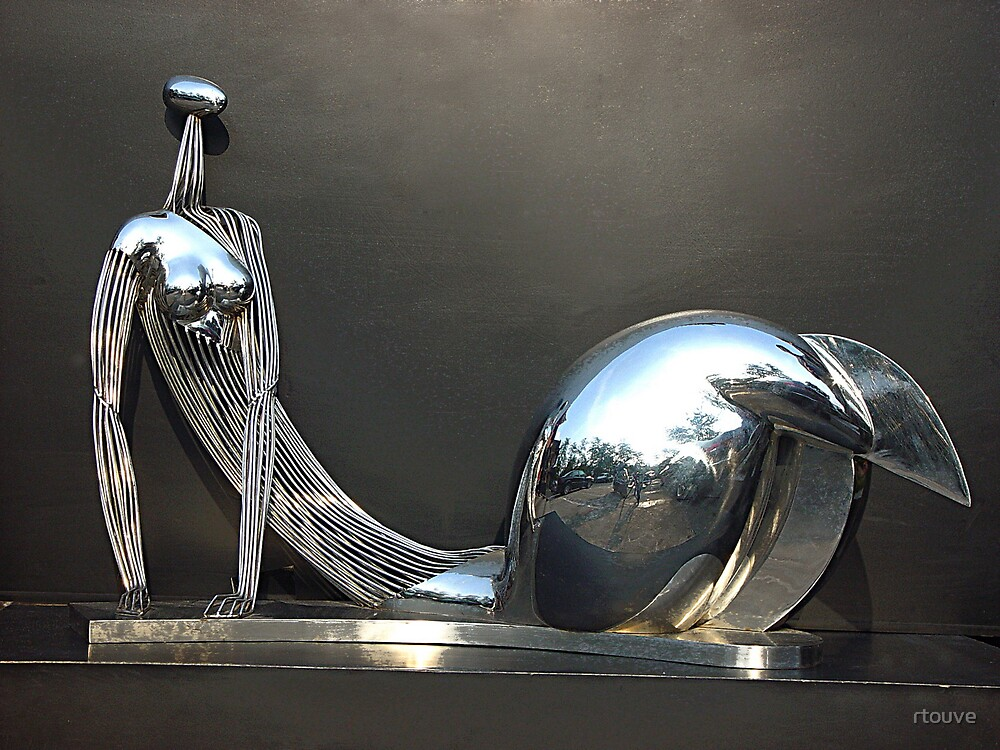 Sculpture of A woman sitting oblique In Stainless Steel by rtouve