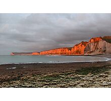 Sunset on white cliffs of Normandy Photographic Print