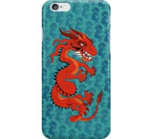 Red Dragon on Teal iPhone Case/Skin