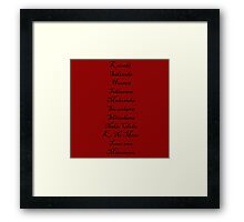The Menu (Hannibal Season 2 Episode List) Framed Print