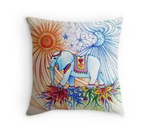 indian elephant walking under the sun & moon Throw Pillow