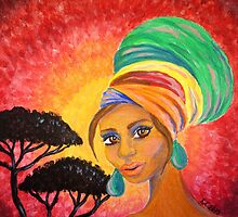 Turban Girl | Africa Painting by Almonda