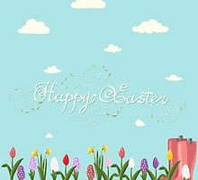 HAPPY EASTER hand lettering handmade calligraphy scalable and editable vector illustration by OlgaBerlet