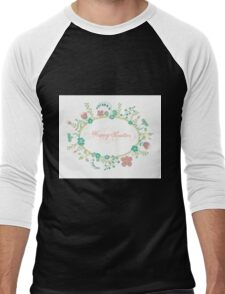 HAPPY EASTER hand lettering handmade calligraphy scalable and editable vector illustration Men's Baseball ¾ T-Shirt